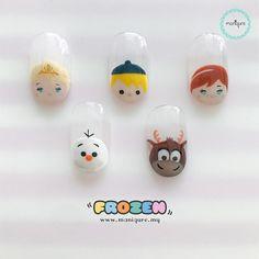 【Frozen Tsum Tsum Nails】 Elsa, Olaf, Kristoff, Sven and Anna Disney Manicure, Disney Acrylic Nails, Nail Manicure, Gel Nails, Disney Frozen Nails, Frozen Nail Art, Cute Nail Art, Cute Nails, Pretty Nails