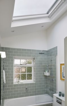 Bathroom with roof window. This is a great idea for a home extention. Great way of getting more natural light.