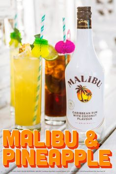 Sip on the fresh side with this juicy Malibu and Pineapple cocktail. Whether you're hosting a rooftop party or attending a pool with friends, this recipe is a crowd pleaser. Fancy Drinks, Summer Drinks, Cocktail Drinks, Cocktail Recipes, Malibu Pineapple, Pineapple Cocktail, Pineapple Alcohol Drinks, Coconut Rum, Sweets
