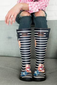 WellyPrint Rain Boots - Rose Stripe