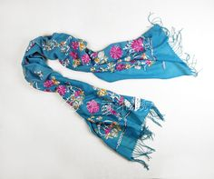 WOOL EMBROIDERED SHAWL BLUE | chinese embroidery tutorial