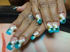 Tropical floral one stroke design