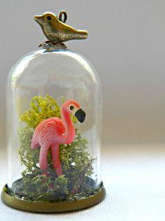 Terrarium Pendant - Flamingo - via DTLL.