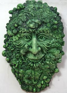 Mucin Harvest Green Man with Mice Friends Plaque