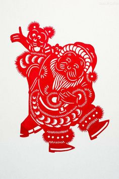 Chinese paper cutting #santa Claus #christmas