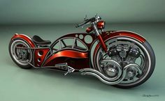 Engine suspended within hubless designed rim, front wheel drive chopper. Definitely unique, and very intriguingly badass from a mechanical engineering perspective. #SteampunkWhatisthat?