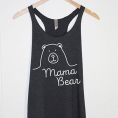 Mama Bear Tank Top in Heather Black-Mother T-shirt by llCupOfTeell