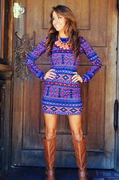 boots with a printed dress for a vibrant look, in the fall!