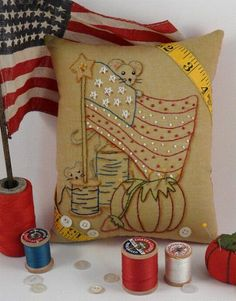 America Yankee Doodle Mousey Stitchery E Patterrn - primitive Mouse mice sewing supplies Pdf Flag Stars pillow embroidery $7.99