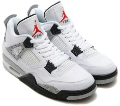 Air Jordan 4 Retro 89 White Cement Releasing 2016 with the original Nike Air  on the heel.