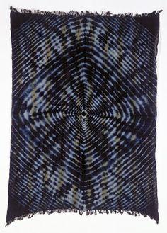 Africa | Woman's wrapper by M. Kouadio N'Gri Bernard | Gouro, Ivory Coast | Cotton; indigo tie dye (plangi) | 1999