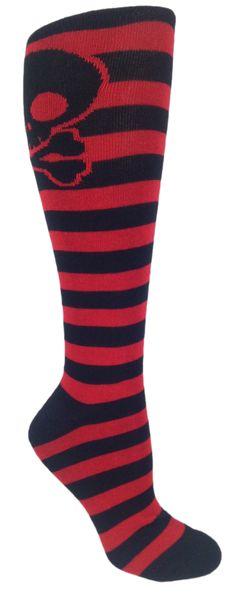 b61be80f8 MOXY Socks Skater Skull Knee-High Black and Red CrossFit Socks