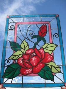 Rose and bud flowers stained glass window by windows2thesoul, $32.00