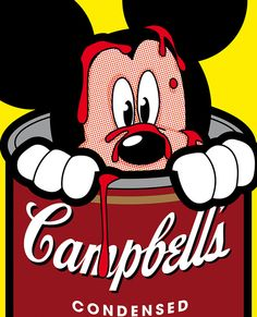Mickey Mouse and Campbell's Soup Can, pop art.