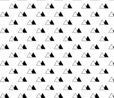 Black and White Triangle Mountains fabric by Sierra Gallagher on Spoonflower - custom fabric
