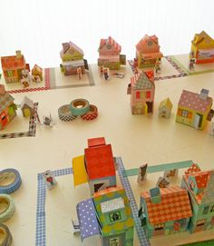 For Any Time of Year: A Washi Tape Village: This adorable little village of paper-and-washi-tape houses is inspired by a book titled Mon Village by Delphine Doreau. The beauty of the project is that kids can keep adding to the town as they acquire new tape.   Can't get enough of the washi-tape craze? We've got eight more kid-friendly washi-tape crafts!  Source: Tambouille