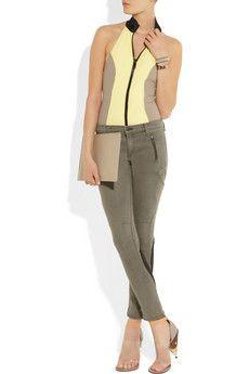 Lisa Marie zip-front color-block swimsuit #virtualsuitcase