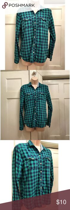 EUC Abercrombie Plaid Flannel Button Up Sz Small Teal Green and Navy Blue Plaid Flannel Button Up Shirt by Abercrombie and Fitch. Great preowned condition with no stains or holes, only minimal piling, as pictured. Comes from a smoke free home. Abercrombie & Fitch Tops Button Down Shirts