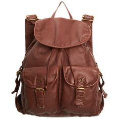 Washed Faux Leather Backpack ❤ liked on Polyvore featuring bags, backpacks, accessories, purses, clothing accessories, brown faux leather backpack, brown backpack, vegan backpack, faux leather rucksack and knapsack bags