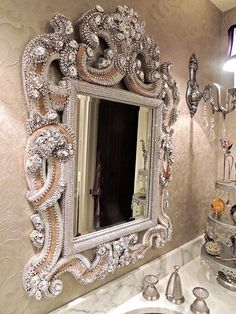 Awesome Swarovski and Vintage Jewellery Mirror by Douglas Cloutier - just need a bigger house!