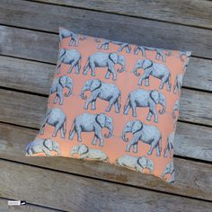 """Have a look 👀 to this cute beauty: large jacquard pillow (24""""x24"""" - 60x60 cm) with pretty elephant motiv on melon coloured back ground. Soon at http://www.wagnerstrasse.de. #pillow #kissen #sofakissen #kinderzimmer #throwpillow #elephant"""