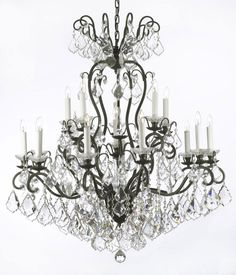 Gallery wrought iron and crystal 12 light chandelier home above bed or in the sitting area wrought iron crystal chandelier chandeliers lighting w38 h44 aloadofball Gallery