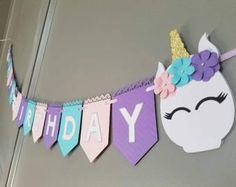 Unicorn happy birthday banner