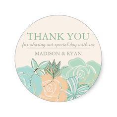 Elegant Peach Roses Mint Floral Wedding Thank You Round Sticker