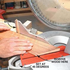 Tips for the perfect miter cut. Also Tricks for tight-fitting joints, Shaving technique for tough corners, Tight miters on recessed jambs, Coping tall base, Easier adjustments for inside corners, Overcut outside corners, and Mitered returns