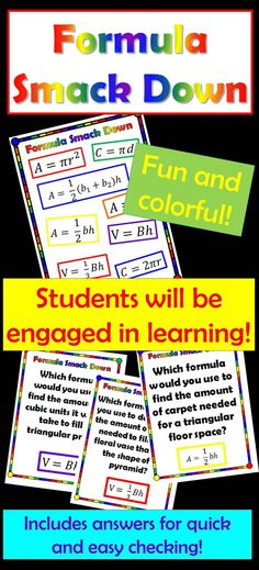 Math Games  A fun, colorful and fast paced activity that will keep your students engaged!  Quick and easy prep! Just print, cut cards and play!  20 questions provide practice on identifying which formula should be used when given a certain situation.  Formulas include: Circumference Area - circle, rectangle or parallelogram, triangle, trapezoid Volume - pyramids and prisms  Can also be used as a math station!