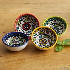 Set of 4 brilliantly colored ceramic dipping bowls is crafted in the ceramic traditions long part of the Palestinian city of Hebron, and emphasizing the beauty of nature. Glazed and high fired to a glossy finish. Each holds 4 oz. Painted Ceramic Plates, Painted Vases, Hand Painted Ceramics, Pottery Painting, Ceramic Painting, Ceramic Art, Ceramic Pinch Pots, Paint Dipping, Diy Diwali Decorations