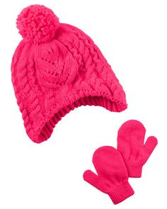 ... Mitten Set  another chance d34dd e8f21 Keep her little head warm with  this girls Carters cable knit hat ... a772cba98958