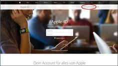 Die Markierung zeigt's: Hier können Sie sich auf der Apple-ID-Seite eine eigene Apple-ID einrichten.