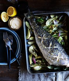 Mulloway with gem lettuce, fennel and anchovies - Gourmet Traveller