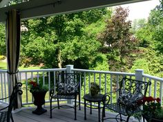 Bump out and pergola on covered porch offers shade air sun options.