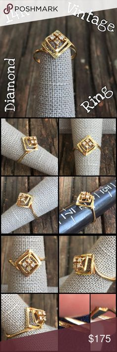 14k Yellow Gold Vintage .10 ctw Diamond Ring Beautiful Unique 14k Yellow Gold Vintage 3-D 0.10 ctw Diamond Ring. Marked FM 14k. Size 6. 4 diamonds = .10 ctw. Weight 2.29 grams. Such a unique vtg ring in great condition w/ a few surface scratches consistent w/ age & wearing it. Does not take away from the ring at all. Would make a great gift! Thanks 4 looking. Please ask all ?'s b4 purchase. I ship same day. Please make REASONABLE offer using the offer button only. No low ball or trade. Buy…