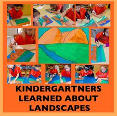 Kindergarten. Landscape with tempera paint and markers. Foreground, middle ground, and background.