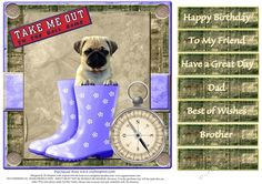 Cute Puppy for lots of occasions 2 by Di Simpson Cute puppy design for lots of occasions. For male. Print out two sheets if wanting some 3D elements to bring your card to life.