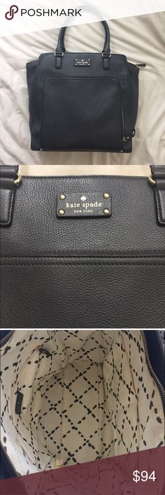Kate Spade Handbag Charcoal grey Kate Spade. Only carried for two months. No wear on handles or bottom of purse. Near perfect leather condition. Minimal makeup marks on inside (see picture). No dust bag. Great bag!!! kate spade Bags Totes