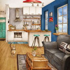 One Point Perspective Drawing Living Room Google Search