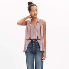 This type of shirt (without the tassels?) may be a good style for sewing class: Bellshift Tank Top in Gingham Check : shirts & tees | Madewell