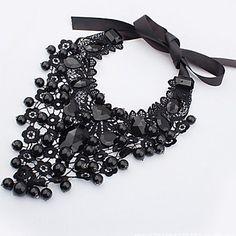 Das Miisa mulheres elegantes cxt8078 Colar laço renda preta - BRL R$ 12,01