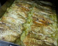 Χριστίνας....Μαγειρέματα!: Λεμονάτη Πέρκα με Πατατούλες Φούρνου Everyday Food, Fish And Seafood, Pork, Chicken, Meat, Cooking, Kitchen, Greek Beauty, Foods