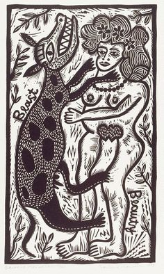 "'Beauty & beast' (1990) from ""Twelve linocuts,"" a suite of prints by Australian artist and printmaker Barbara Hanrahan (1939-1991). Linocut, edition of 100, 51.0 x 38.0 cm. via Art Gallery NSW"