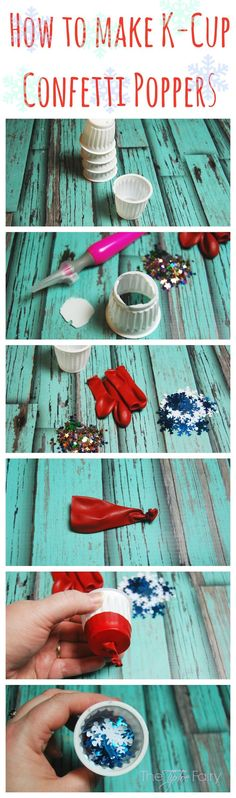 Make Confetti Poppers with upcycled K-cups - an easy tutorial. Great for little hands of preschoolers for New Year's Eve! | The TipToe Fairy #McCafeMyWay #ad #tutorial