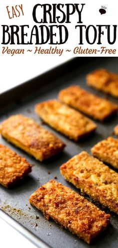 You are going to love this crispy breaded tofu! If you're sick of the same old baked or stir-fried tofu and want more texture and flavor in your tofu, you have to give this a try! The tofu coating is super versatile and can be made with panko bread crumb Pan Fried Tofu, Vegan Recipes Easy, Whole Food Recipes, Cooking Recipes, Best Tofu Recipes, Vegetarian Recipes, Cooking Tofu, Gastronomia, Healthy Recipes