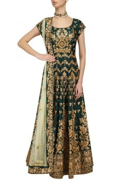 Kylee Bottle Green Embroidered Anarkali Set #happyshopping #shopnow #ppus