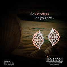 A fashionable pair of diamond studded earrings in rose gold. #Diamond #RoseGold #Beautiful #Fashionable #Earrings #PureAndTimeless.