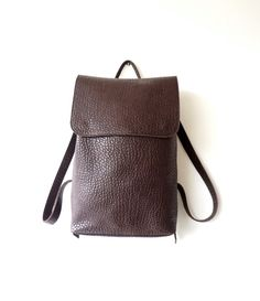 Dark Brown Textured Calf Leather Backpack / Unisex by Imunde