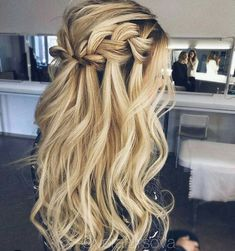 6 Easy And Cheap Cool Tips: Braided Hairstyles For Little Girls women hairstyles business.Women Hairstyles Over 50 Popular Haircuts braided hairstyles bun.Braided Hairstyles For Little Girls. Wedding Hairstyles Half Up Half Down, Wedding Hair Down, Wedding Hair And Makeup, Bridal Hair, Wedding Hair With Braid, Wedding Guest Hairstyles Long, Braided Half Up Half Down Hair, Curled Hair With Braid, Hair Down Braid
